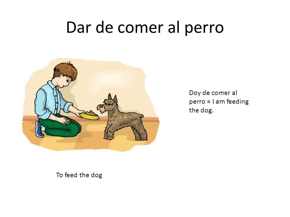 Dar de comer al perro Doy de comer al perro = I am feeding the dog.