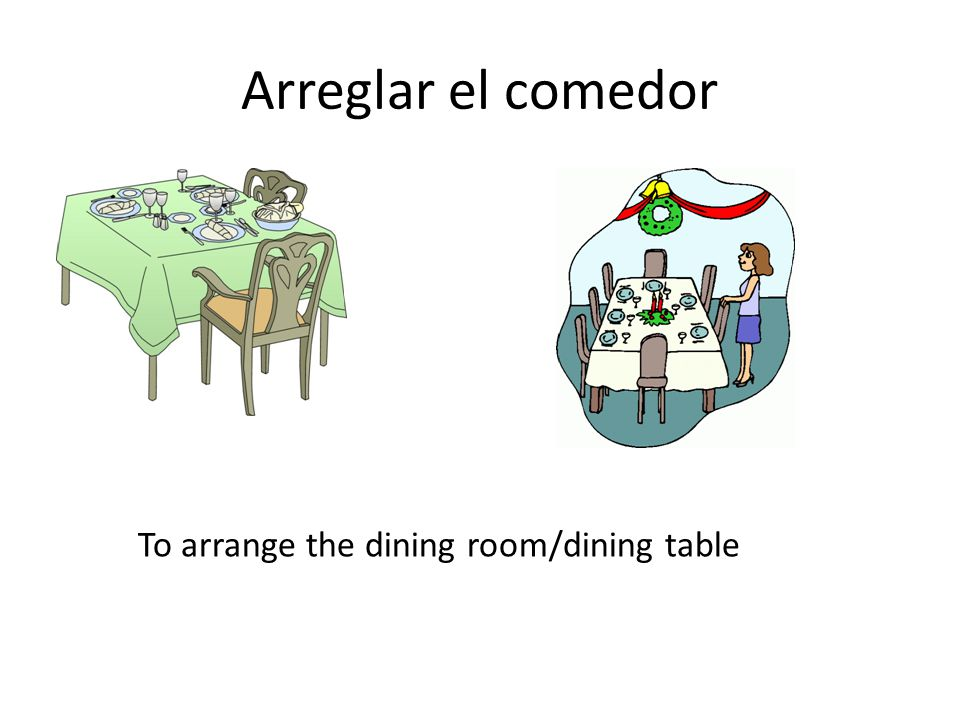 Arreglar el comedor To arrange the dining room/dining table