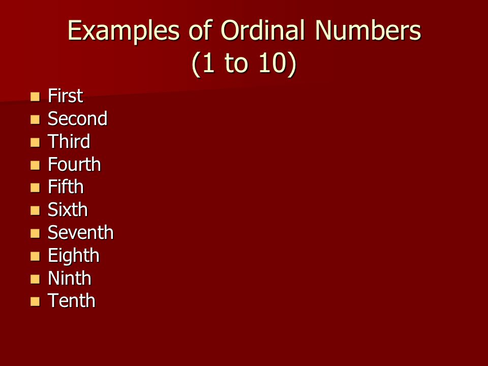 Examples of Ordinal Numbers (1 to 10)