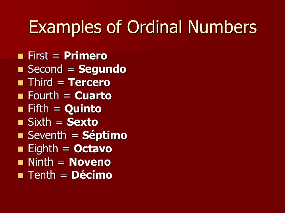 Examples of Ordinal Numbers