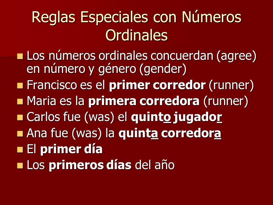Reglas Especiales con Números Ordinales
