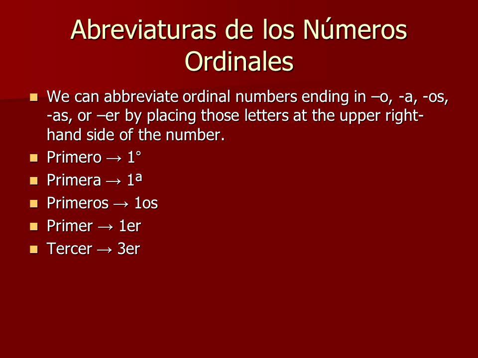 Abreviaturas de los Números Ordinales