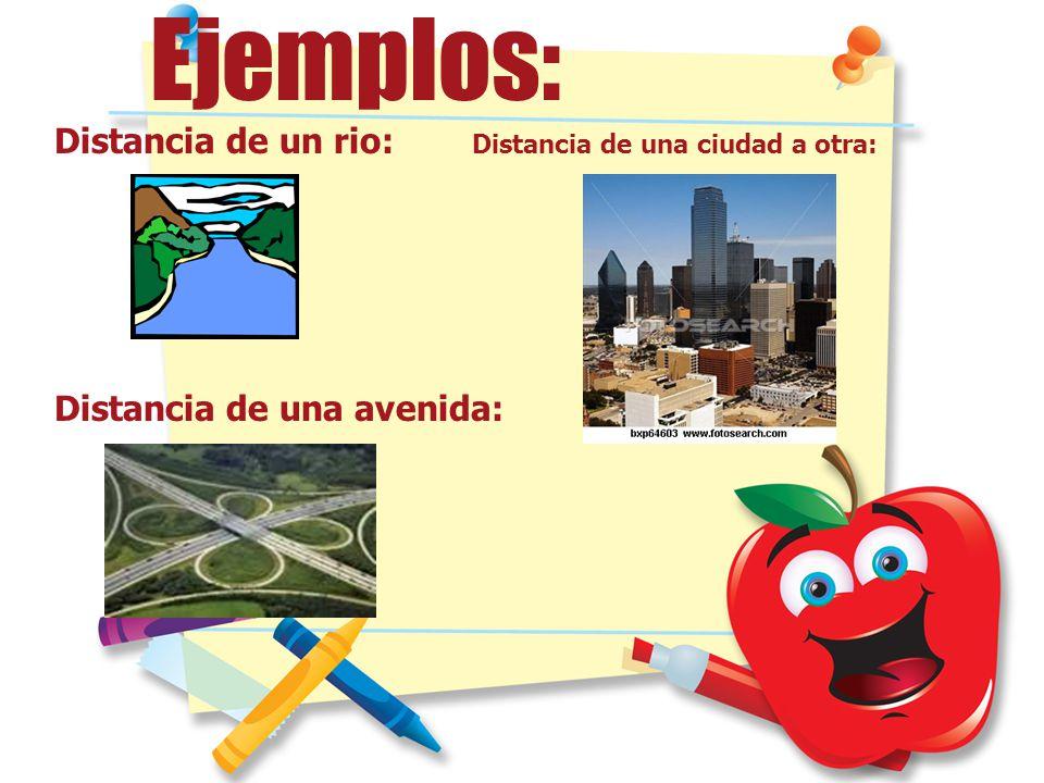 Ejemplos: Distancia de un rio: Distancia de una ciudad a otra:
