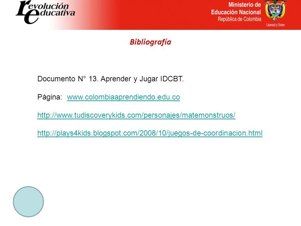 Bibliografía Documento N° 13. Aprender y Jugar IDCBT.
