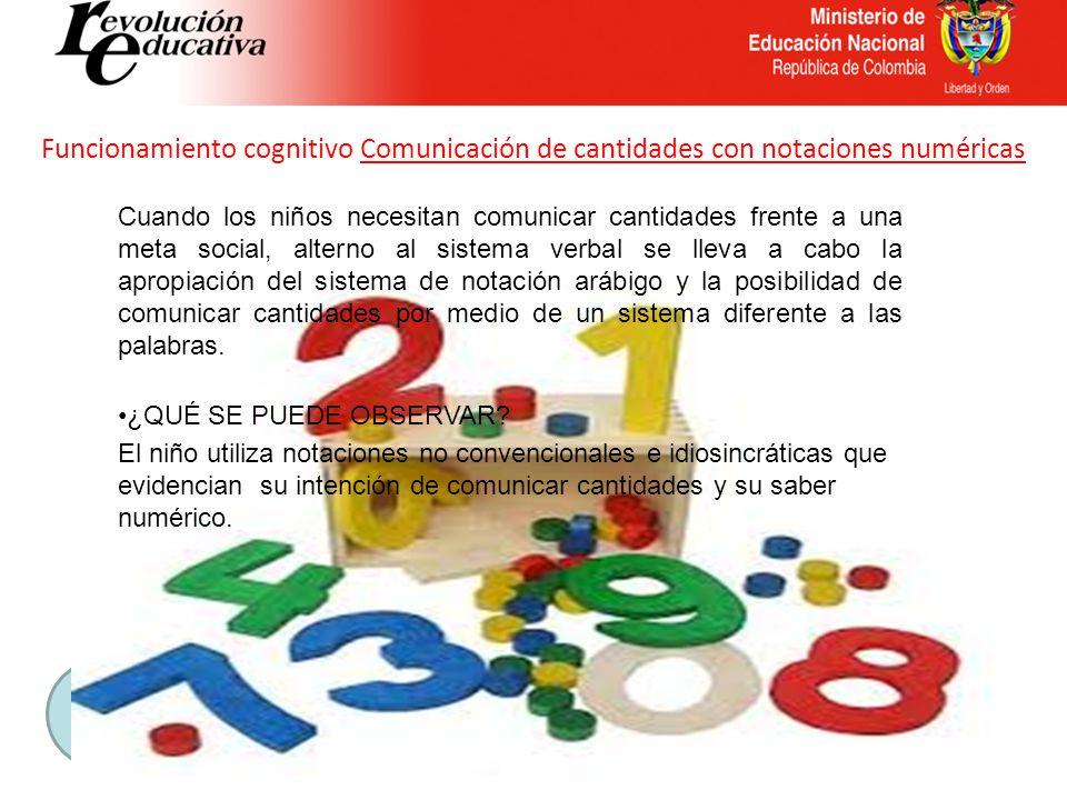 Funcionamiento cognitivo Comunicación de cantidades con notaciones numéricas