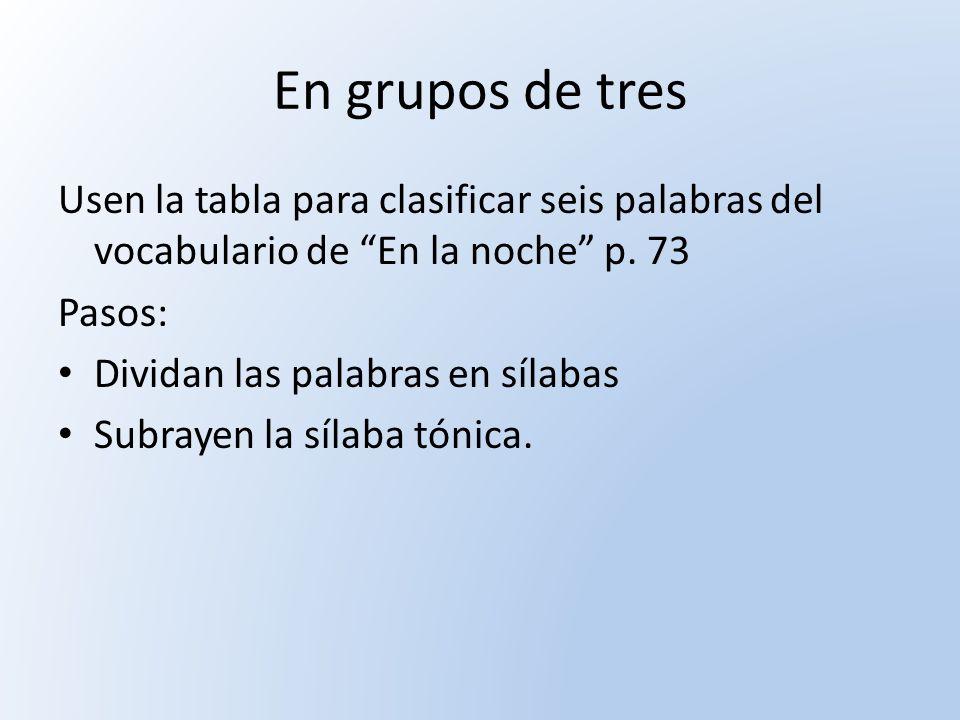 En grupos de tres Usen la tabla para clasificar seis palabras del vocabulario de En la noche p. 73.