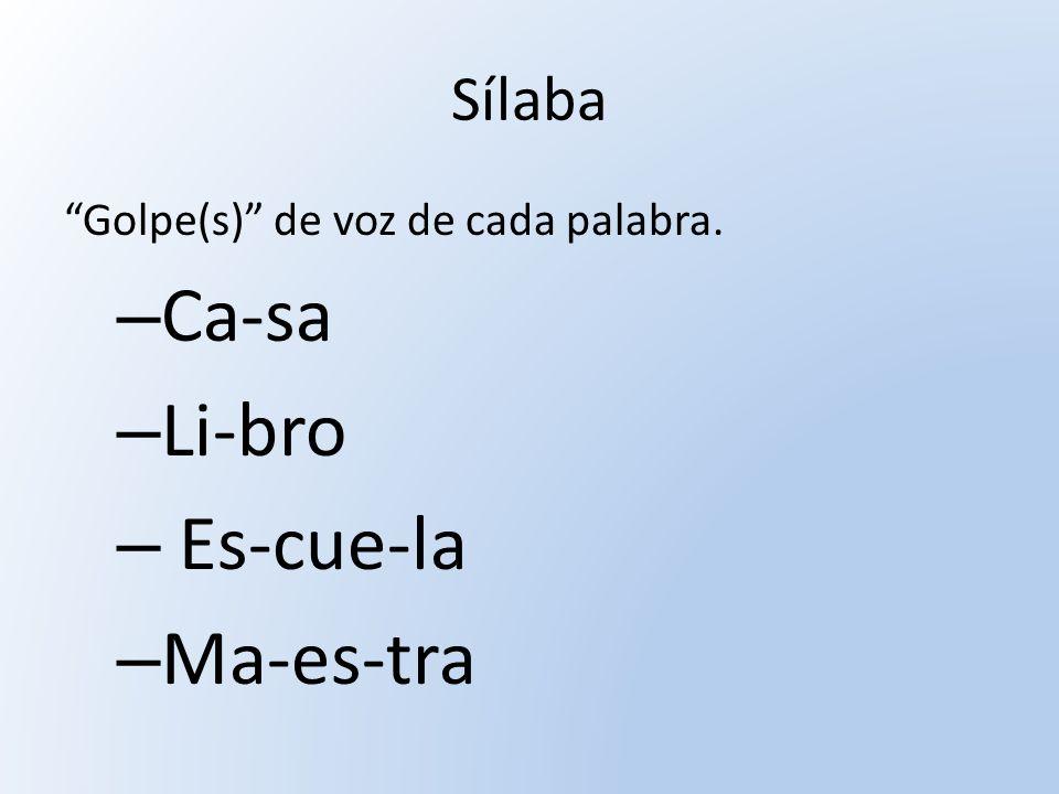 Ca-sa Li-bro Es-cue-la Ma-es-tra Sílaba