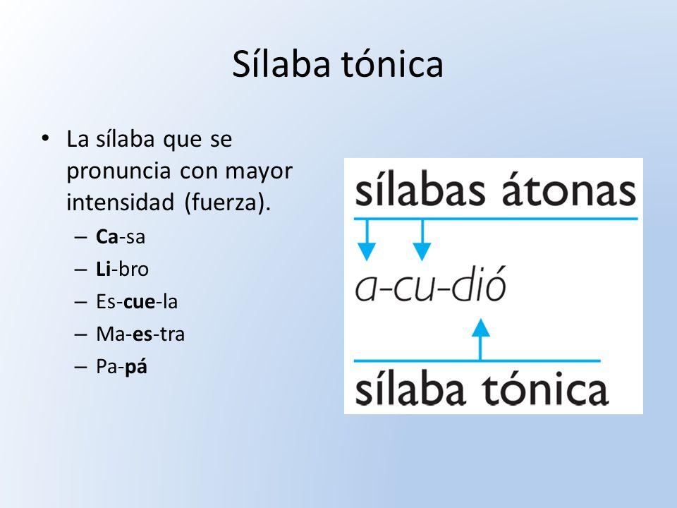 Sílaba tónica La sílaba que se pronuncia con mayor intensidad (fuerza). Ca-sa. Li-bro. Es-cue-la.