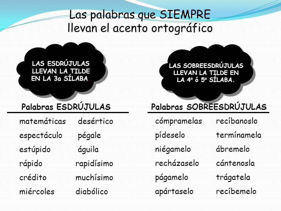 Las palabras que SIEMPRE llevan el acento ortográfico