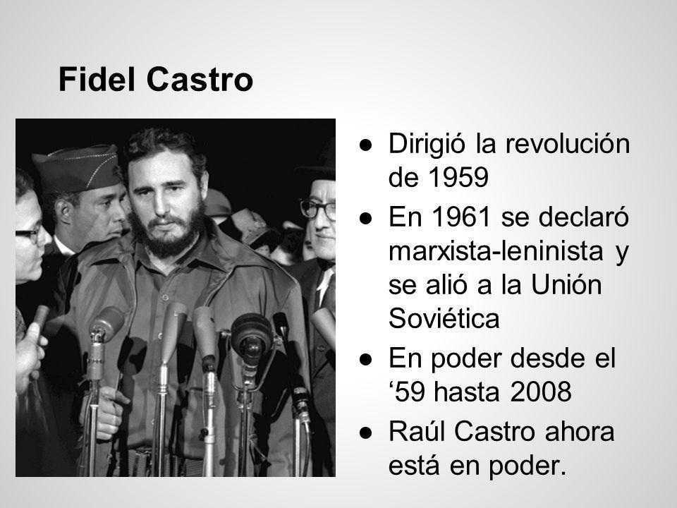 Fidel Castro Dirigió la revolución de 1959