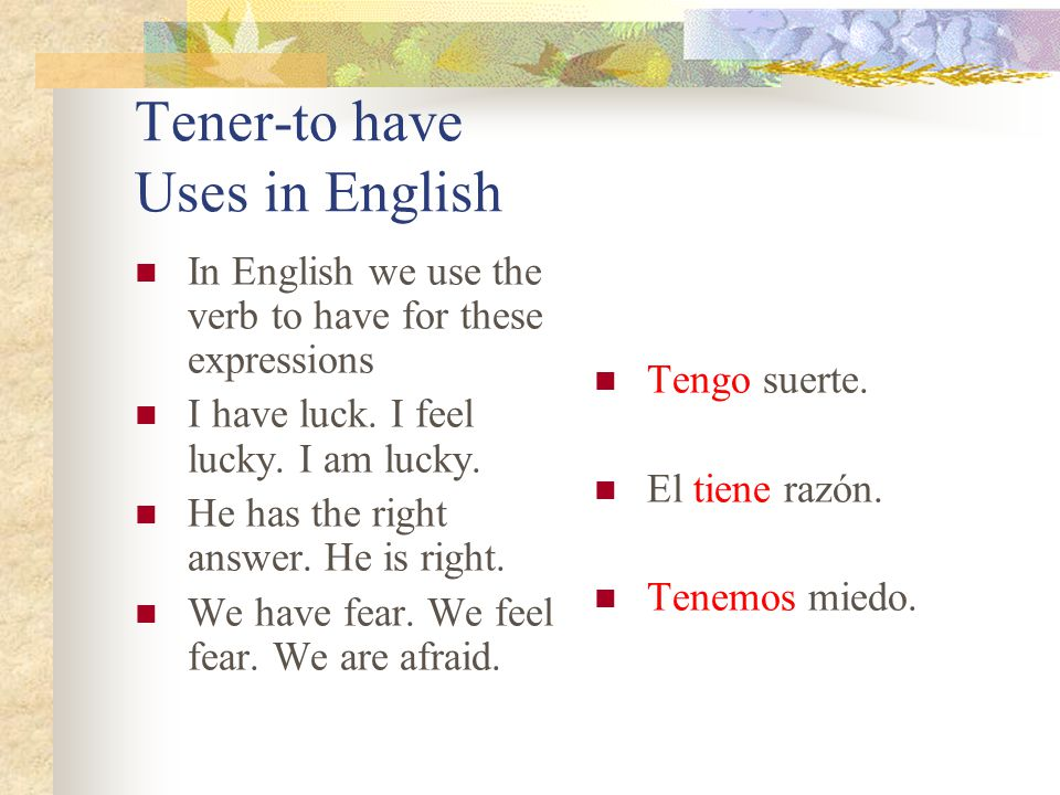 Tener-to have Uses in English