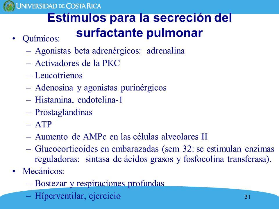 Estímulos para la secreción del surfactante pulmonar