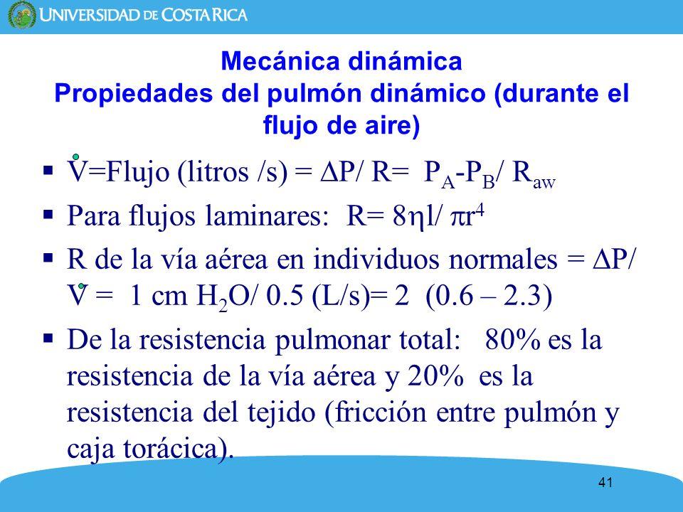 V=Flujo (litros /s) = P/ R= PA-PB/ Raw