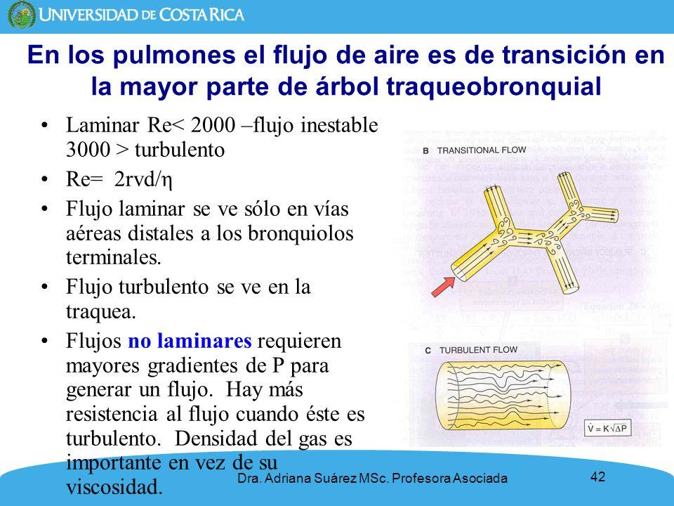 En los pulmones el flujo de aire es de transición en la mayor parte de árbol traqueobronquial