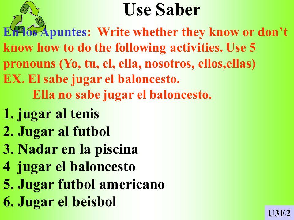 Use Saber 1. jugar al tenis 2. Jugar al futbol 3. Nadar en la piscina