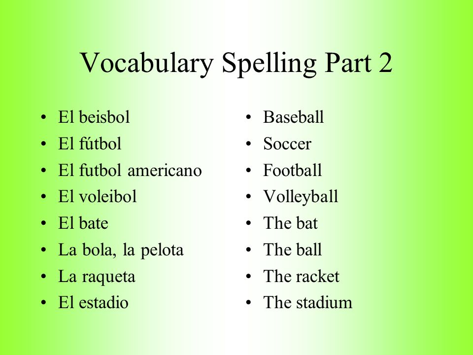 Vocabulary Spelling Part 2