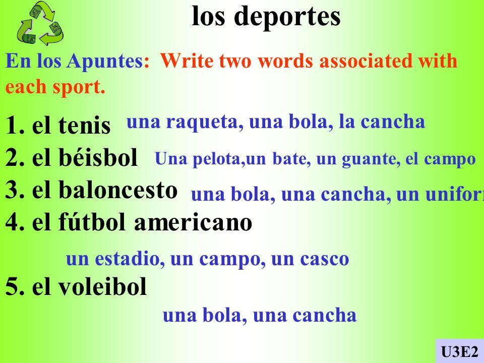 los deportes 1. el tenis 2. el béisbol 3. el baloncesto