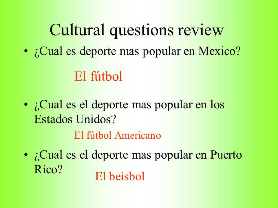Cultural questions review