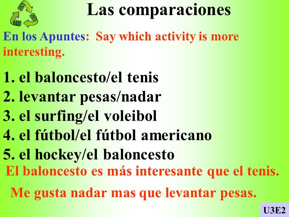 Las comparaciones 1. el baloncesto/el tenis 2. levantar pesas/nadar