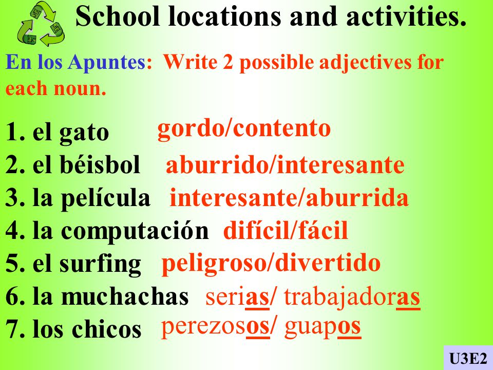 School locations and activities.