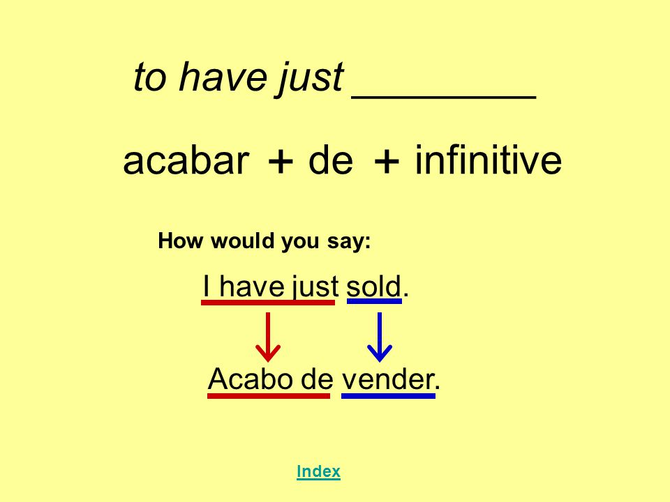 + + to have just ________ acabar de infinitive I have just sold.