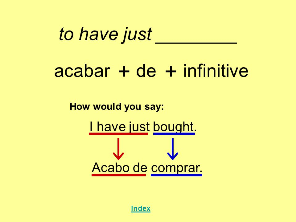 + + to have just ________ acabar de infinitive I have just bought.