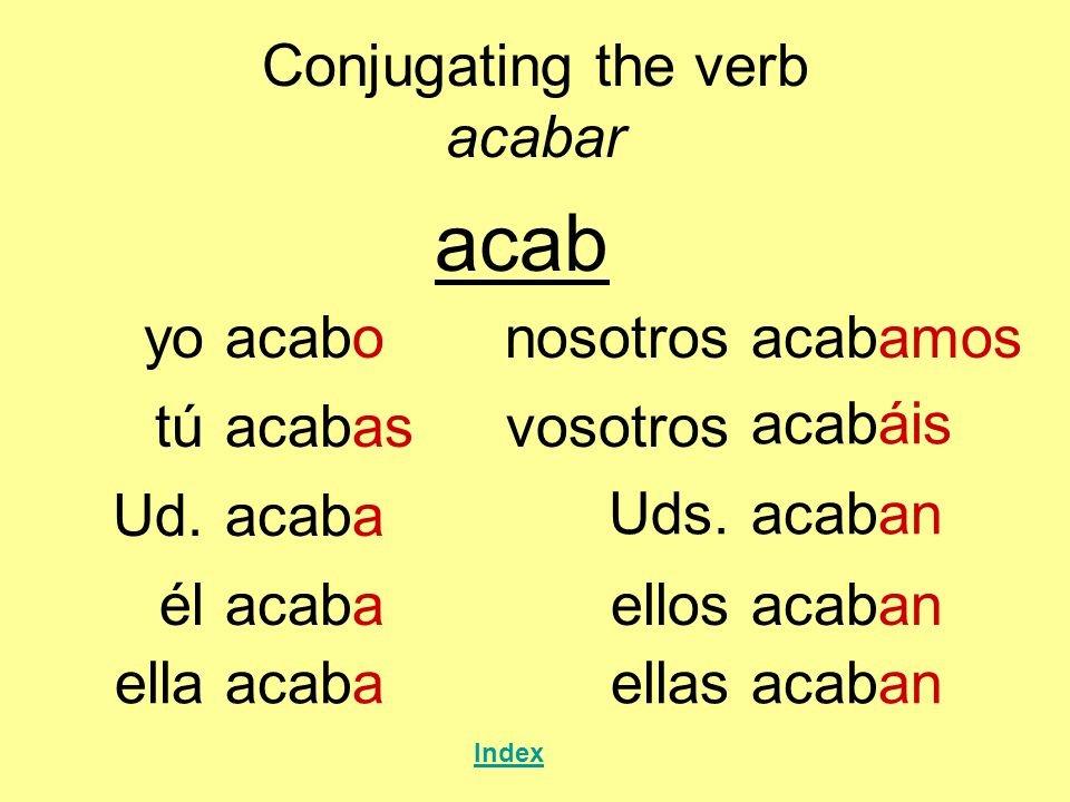 Conjugating the verb acabar