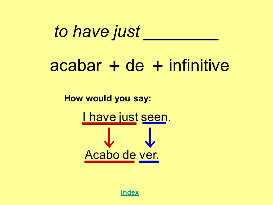 + + to have just ________ acabar de infinitive I have just seen.