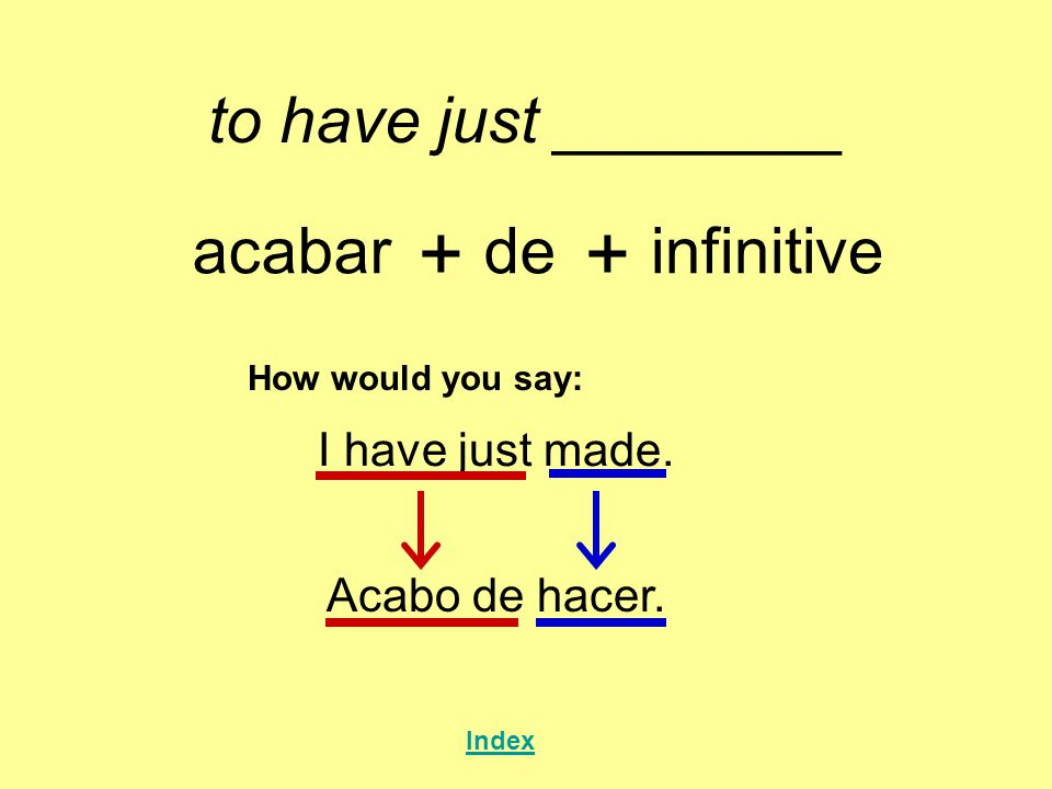 + + to have just ________ acabar de infinitive I have just made.