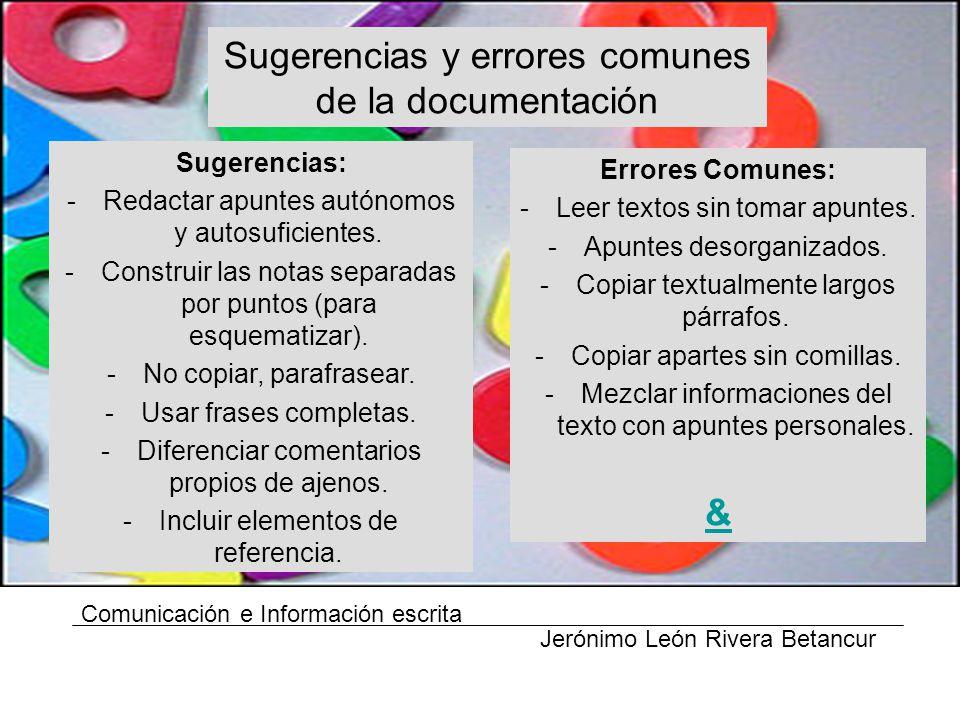 Sugerencias y errores comunes de la documentación