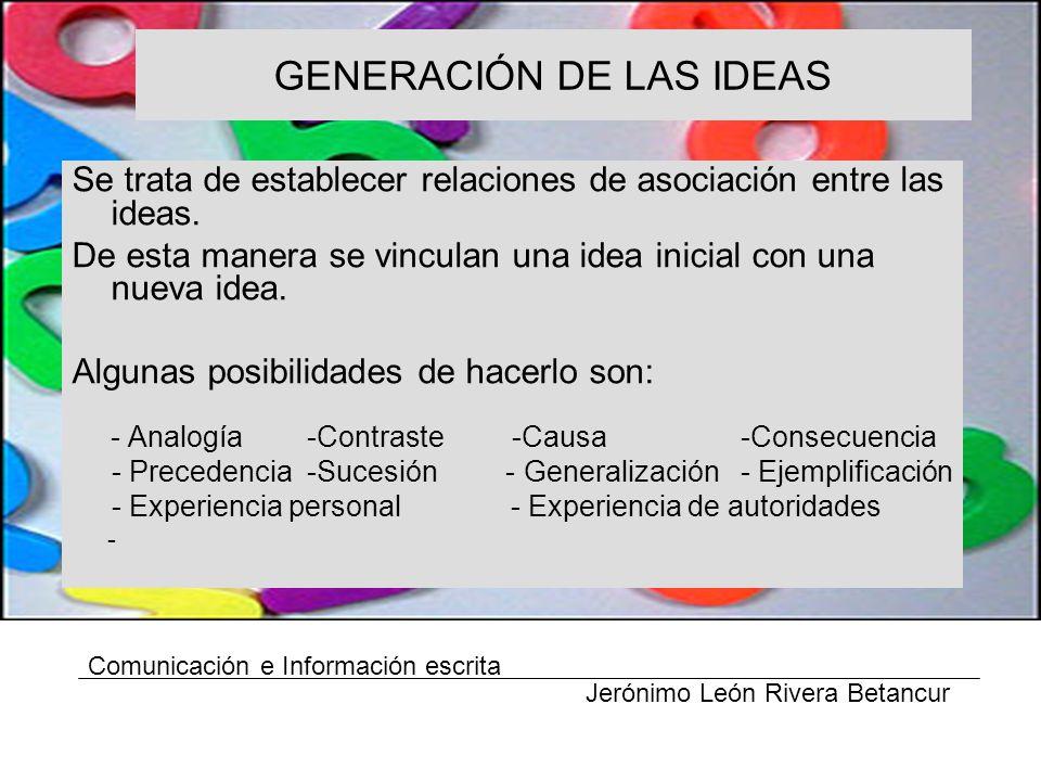 GENERACIÓN DE LAS IDEAS