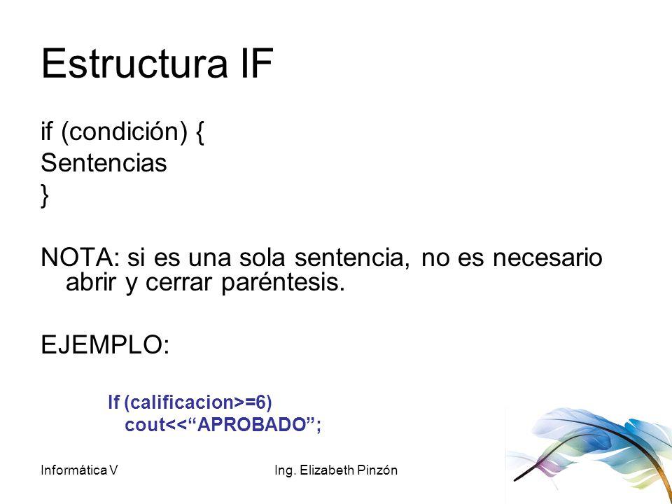Estructura IF if (condición) { Sentencias }