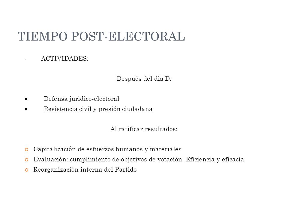 TIEMPO POST-ELECTORAL