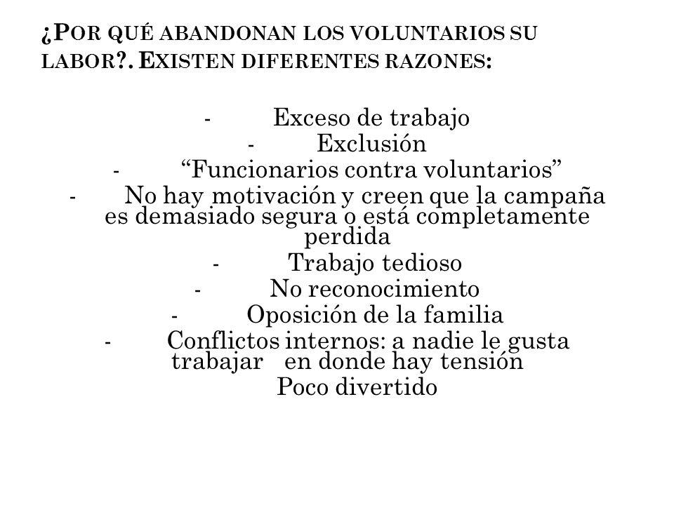 ¿Por qué abandonan los voluntarios su labor