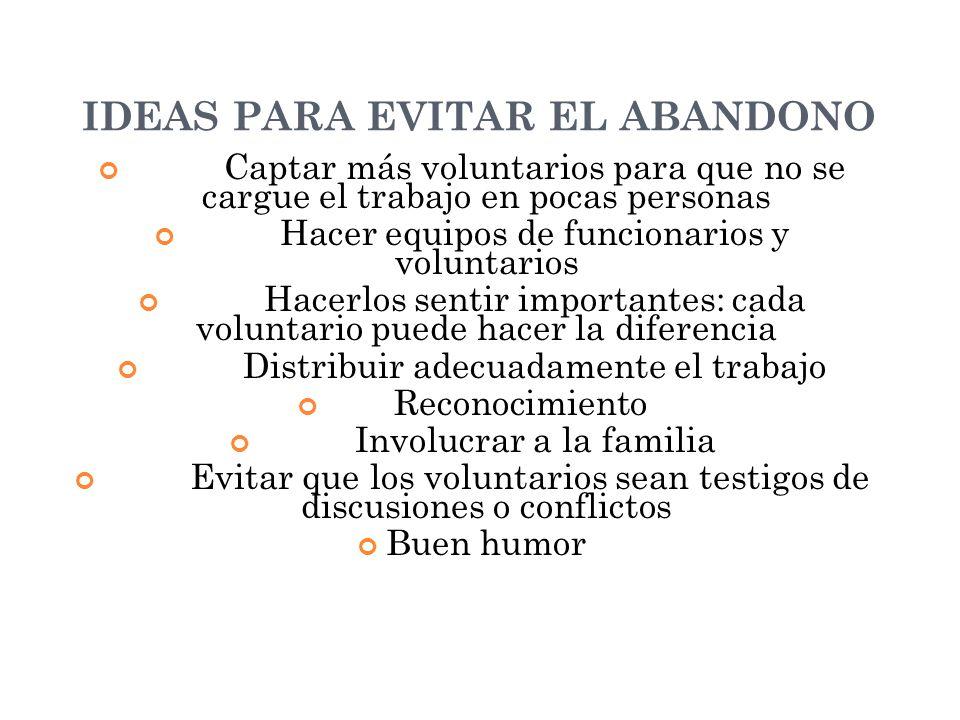 IDEAS PARA EVITAR EL ABANDONO