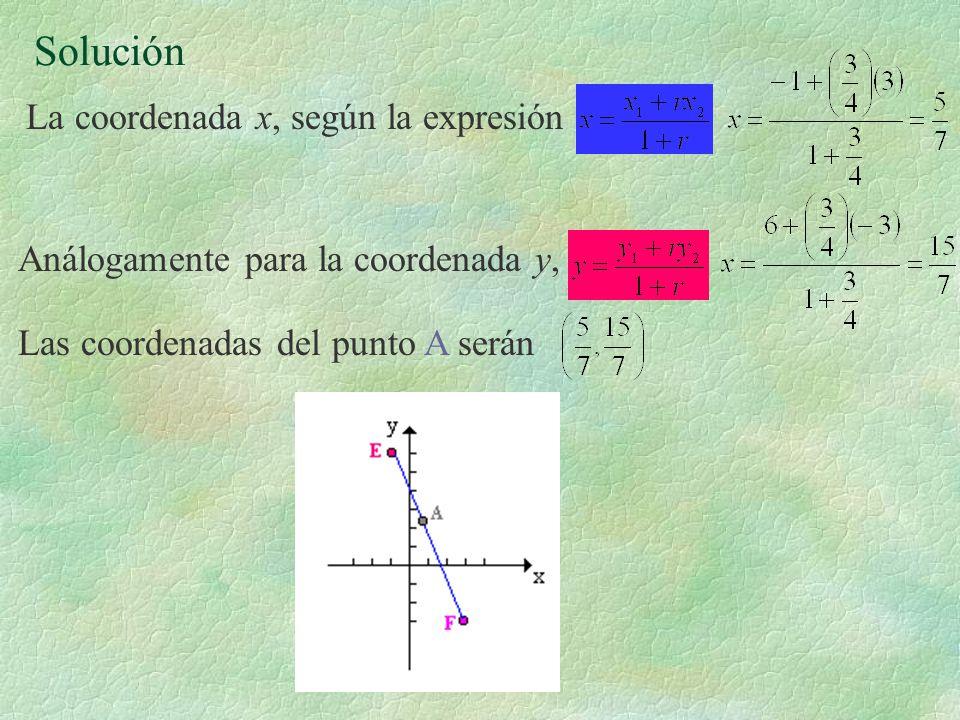 Solución La coordenada x, según la expresión