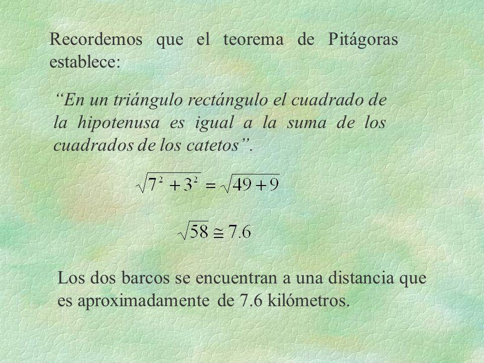 Recordemos que el teorema de Pitágoras establece: