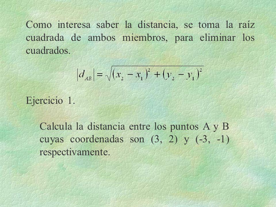 Como interesa saber la distancia, se toma la raíz cuadrada de ambos miembros, para eliminar los cuadrados.