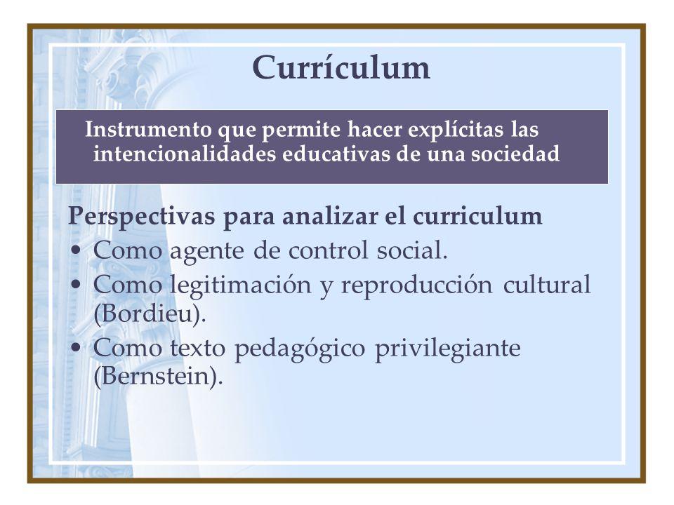 Currículum Perspectivas para analizar el curriculum
