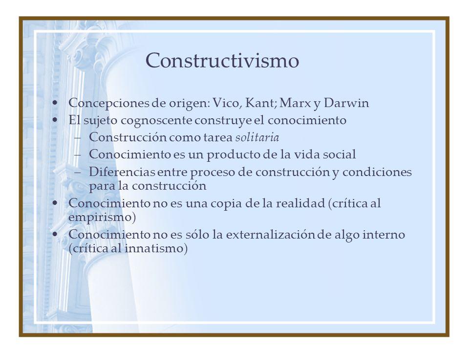 Constructivismo Concepciones de origen: Vico, Kant; Marx y Darwin