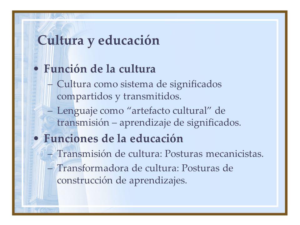 Cultura y educación Función de la cultura Funciones de la educación