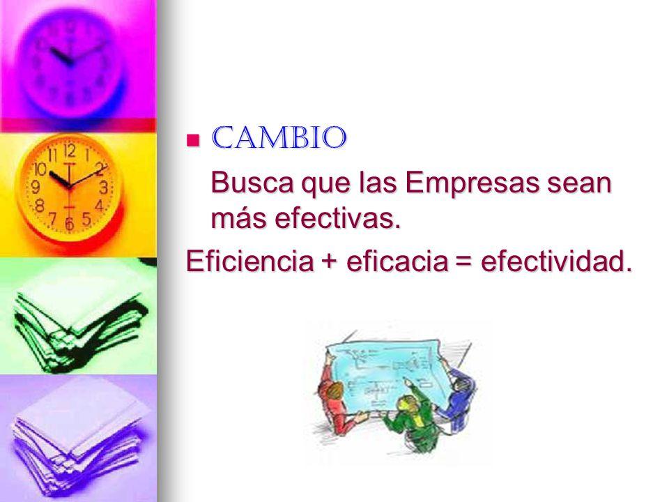 Cambio Busca que las Empresas sean más efectivas. Eficiencia + eficacia = efectividad.