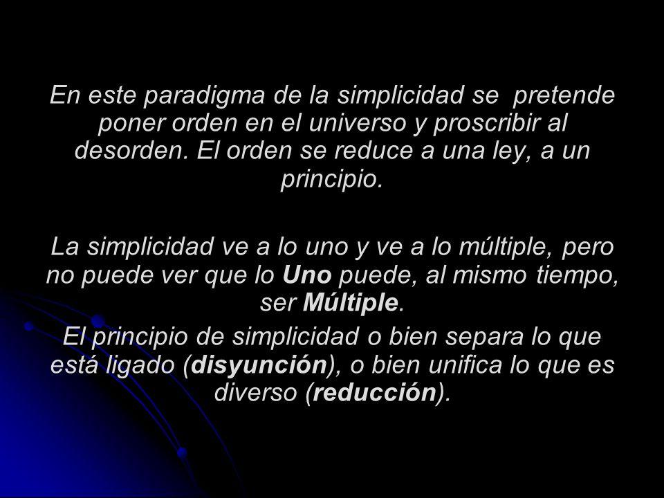 En este paradigma de la simplicidad se pretende poner orden en el universo y proscribir al desorden. El orden se reduce a una ley, a un principio.
