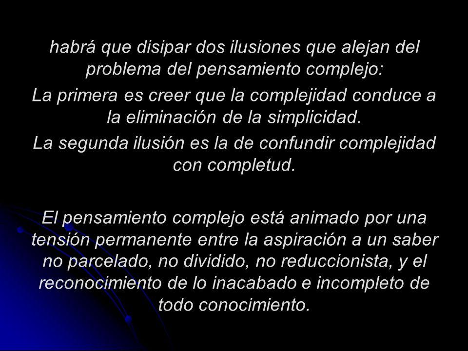 La segunda ilusión es la de confundir complejidad con completud.