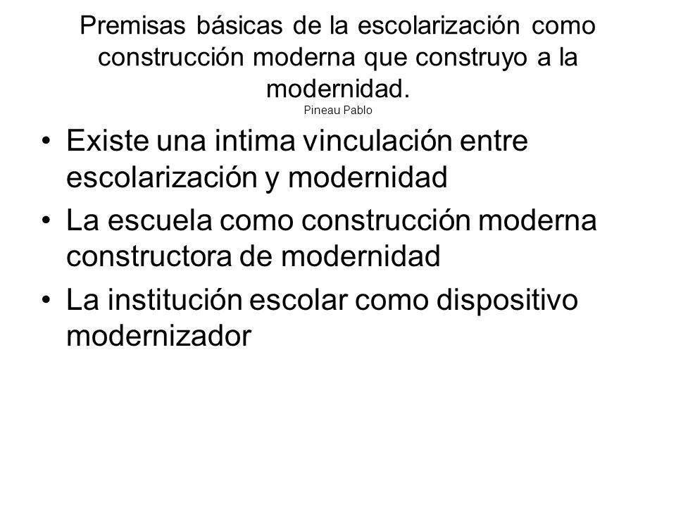 Existe una intima vinculación entre escolarización y modernidad
