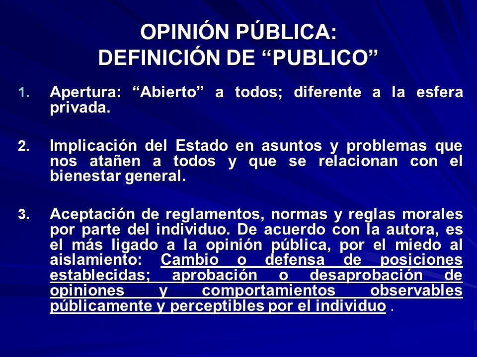 OPINIÓN PÚBLICA: DEFINICIÓN DE PUBLICO