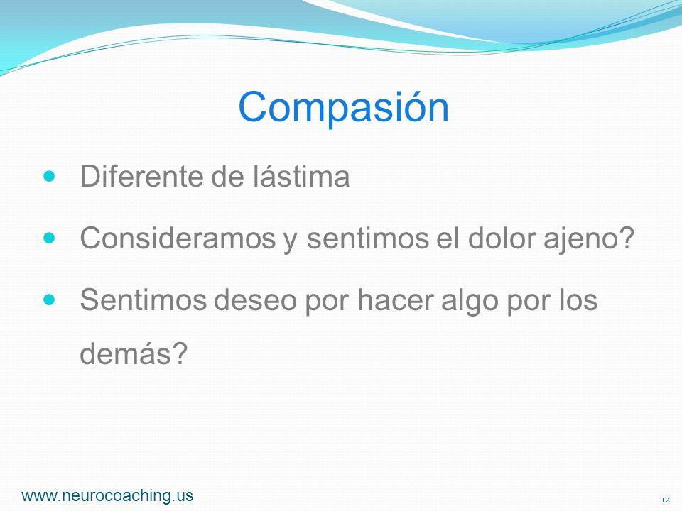 Compasión Diferente de lástima Consideramos y sentimos el dolor ajeno