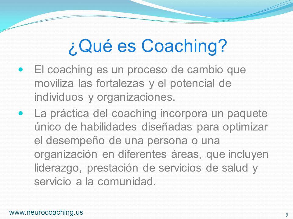 ¿Qué es Coaching El coaching es un proceso de cambio que moviliza las fortalezas y el potencial de individuos y organizaciones.