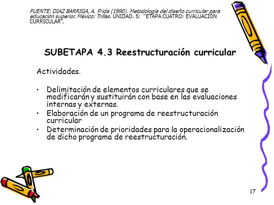 SUBETAPA 4.3 Reestructuración curricular
