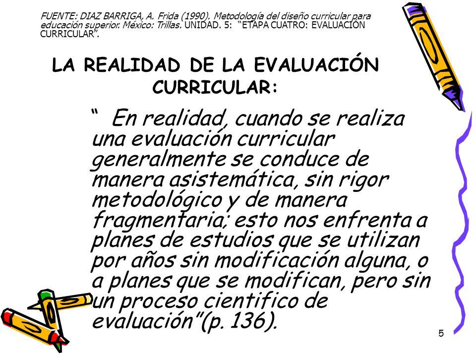 LA REALIDAD DE LA EVALUACIÓN CURRICULAR: